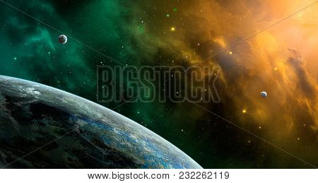 Space Scene. Orange And Green Nebula With Planets. Elements Furnished By Nasa. 3d Rendering