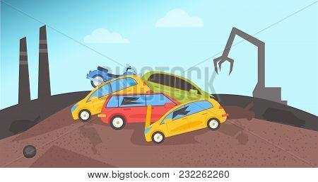 Junkyard. Dump For Cars Flat Vector Catoon