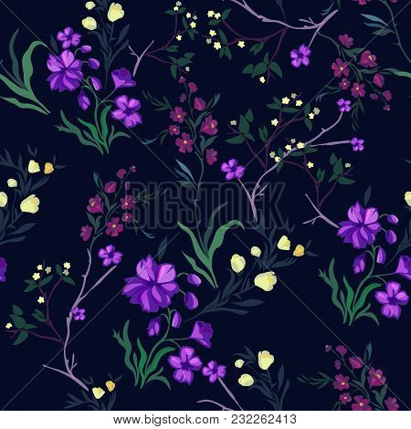 Botanical Seamless Pattern With Cherry And Flowers. Vector Floral Motifs For Fabric Print And Embroi