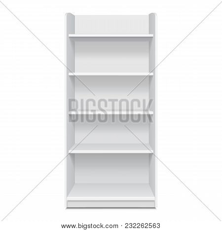 White Cardboard Floor Display Rack For Supermarket Blank Empty Displays With Shelves Products Mock U