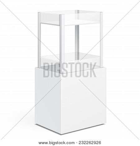 White Square POS POI Cardboard Floor Display Rack For Supermarket Blank Empty Displays With Shelves Products On White Background Isolated. Ready For Your Design. Product Packing. Vector EPS10 poster