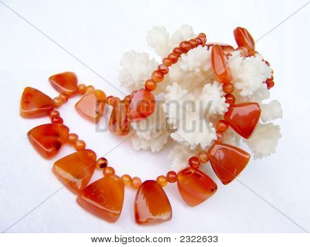 Cornelian Necklace And Coral