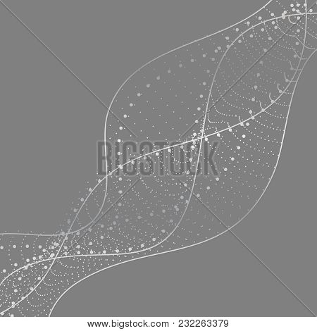 Abstract Background With Dots Lines. Vector Particles. Halftone Wavy Line Shape. For Business, Scien