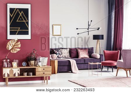 Gold And Red Living Room