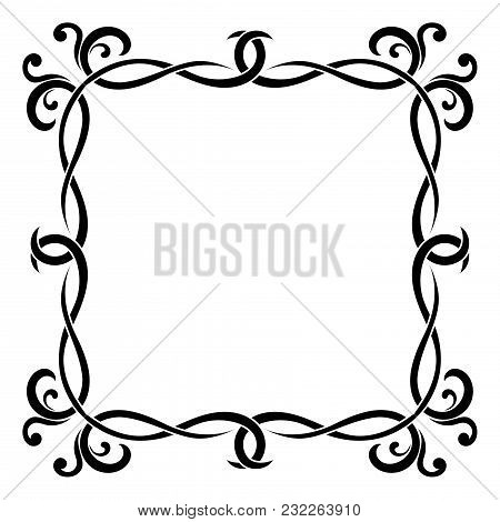 Floral Decorative Square Frame. Black Bold Ornament. Vector Illustration Isolated On White Backgroun