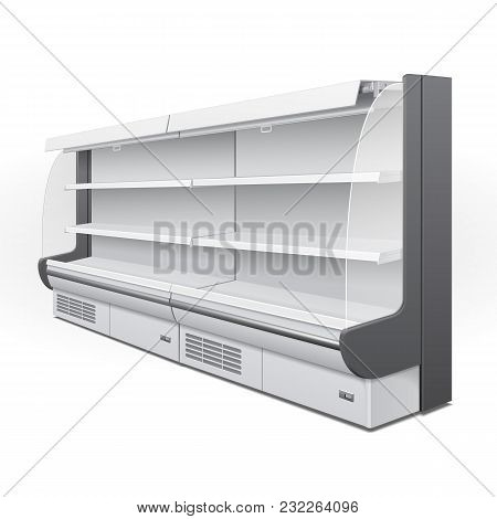 Long Cooled Regal Rack Refrigerator Wall Cabinet Blank Empty Showcase Displays. Retail Shelves. 3d P