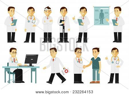 Practitioner Young Doctor Man In Different Poses And Situations. Medical Staff.