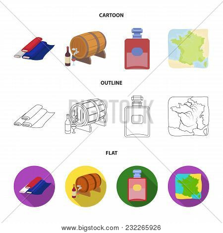 France, Country, Nation, National .france Country Set Collection Icons In Cartoon, Outline, Flat Sty