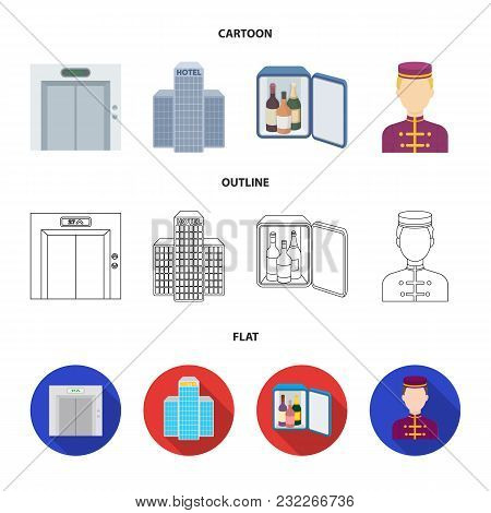 Elevator Car, Mini Bar, Staff, Building.hotel Set Collection Icons In Cartoon, Outline, Flat Style V