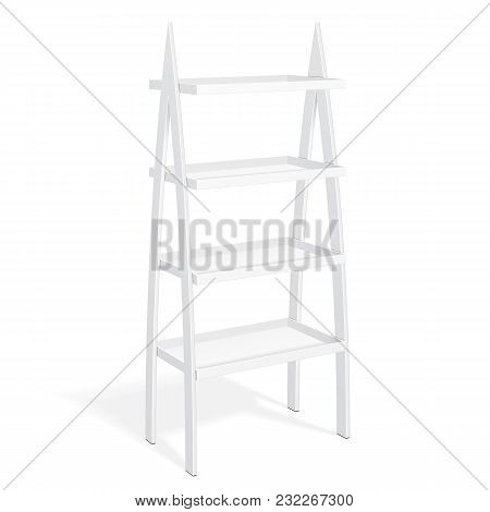 White Retail Shelves Floor Display Rack For Supermarket Blank Empty Displays With Banner Products Mock Up. 3D On White Background Isolated. Ready For Your Design. Product Packing. Vector EPS10 poster