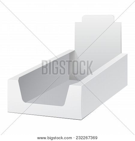 White Display Holder Box Pos Poi Cardboard Blank Empty. Mockup, Mock Up, Template. Products On White