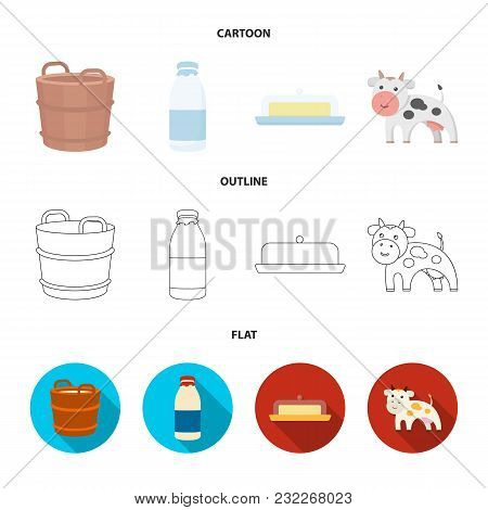 A Barrel Of Milk, Butter, A Cow. Milk Set Collection Icons In Cartoon, Outline, Flat Style Vector Sy