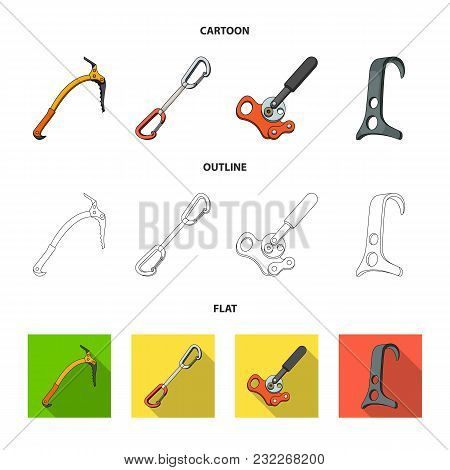 An Ice Ax, A Carbine And Other Equipment.mountaineering Set Collection Icons In Cartoon, Outline, Fl