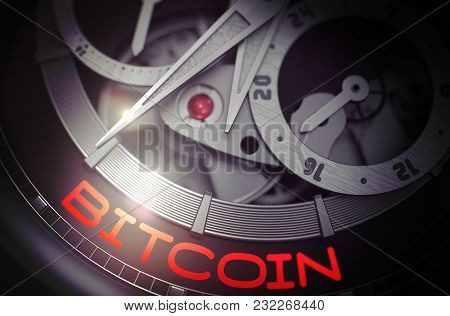 Luxury Men Wristwatch With Bitcoin Inscription On Face. Gears And Mainspring In The Mechanism Of A W