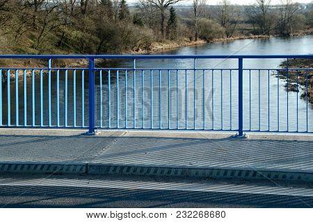 Detail Of Blue Handrail On The New Bridge