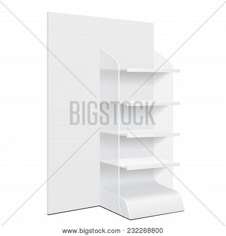 White Cardboard Floor Display Rack For Supermarket Blank Empty Displays With Shelves And Banner Products Mock Up On White Background Isolated. Ready For Your Design. Product Packing. Vector EPS10 poster