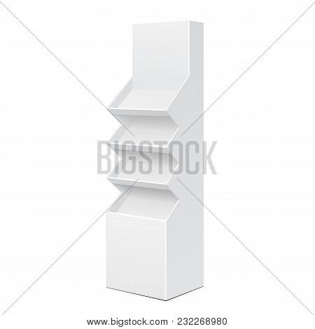 Two Side White POS POI Cardboard Floor Display Rack For Supermarket Blank Empty Displays With Shelves Products On White Background Isolated. Ready For Your Design. Product Packing. Vector EPS10 poster