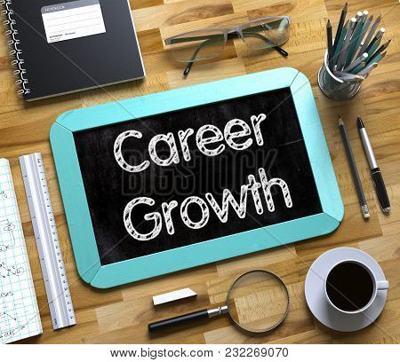 Career Growth Concept On Small Chalkboard. Small Chalkboard With Career Growth Concept. 3d Rendering