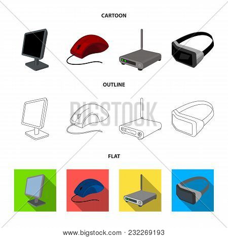 Monitor, Mouse And Other Equipment. Personal Computer Set Collection Icons In Cartoon, Outline, Flat