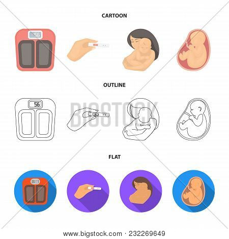 Child In The Womb, Scales, Test. Pregnancy Set Collection Icons In Cartoon, Outline, Flat Style Vect