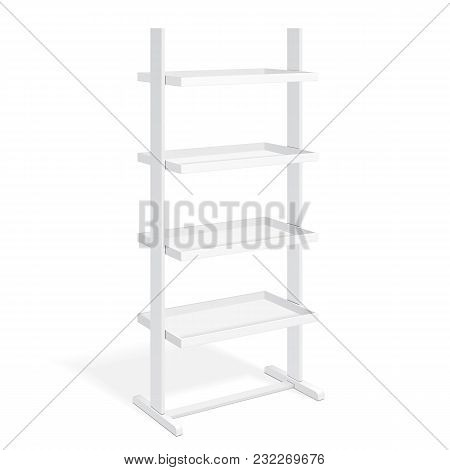 White Retail Shelves Floor Display Rack For Supermarket Blank Empty Displays With Banner Products Mock Up. 3D On White Background Isolated. Ready For Your Design. Product Advertising. Vector EPS10 poster