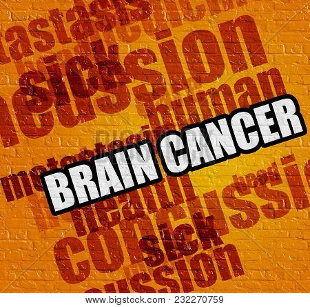 Modern Medicine Concept: Brain Cancer - On Brick Wall With Wordcloud Around . Yellow Brick Wall With