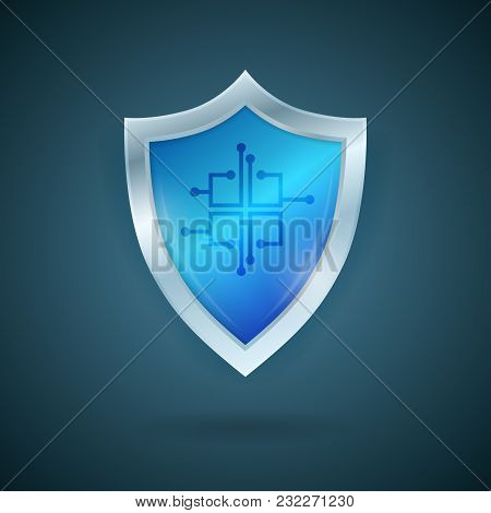 Blue Shield With A Chip. Smart Data Protection Concept. Technology Vector Illustration