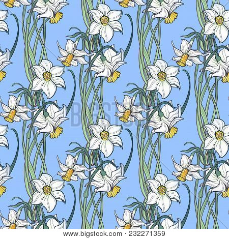 Spring Flowers. Daffodil Flowers Interlaced Into An Intricate Ornament On A Light Blue Background. A