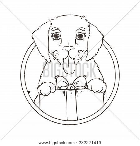 Yellow Dog For New Year 2018, Cute Symbol Of Horoscope. Cute Puppy In Cartoon Doodle Style. Vector M