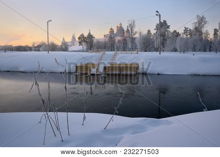 Winter Dawn On The Istra River Overlooking The New Jerusalem Monastery And Place For Bathing