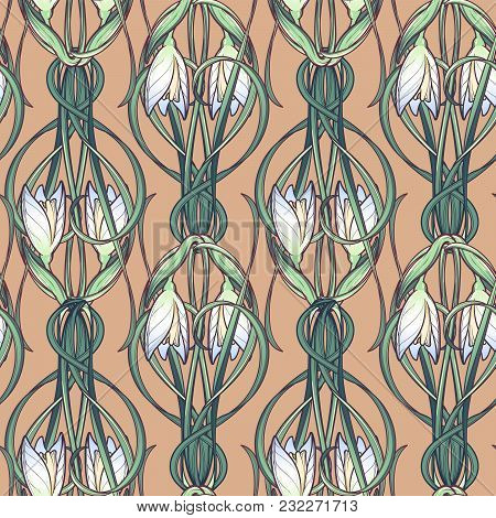 Spring Flowers. Snowdrop Flowers Interlaced Into An Intricate Ornament On A Beige Background. Art No