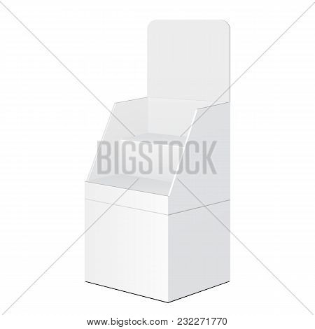 Tabletop Stand, Cardboard Floor Display Rack For Supermarket Blank Empty Displays With Shelves Products Mock Up On White Background Isolated. Product Advertising Vector illustration poster