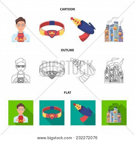 Man, Young, Glasses, And Other  Icon In Cartoon, Outline, Flat Style. Superman, Belt Gun Icons In Se