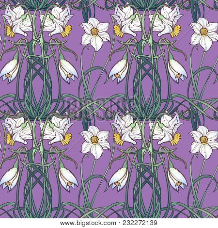 Spring Flowers. Daffodil Flowers Interlaced Into An Intricate Ornament On A Lilac Background. Art No