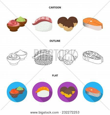Wasabi Sauce And Ginger, Salmon Steak, Octopus. Sushi Set Collection Icons In Cartoon, Outline, Flat