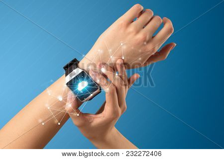 Naked female hand with smartwatch and with cloud technology and connection  symbol
