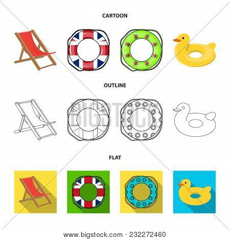 Multicolored Swimming Circle Cartoon, Outline, Flat Icons In Set Collection For Design. Different Li
