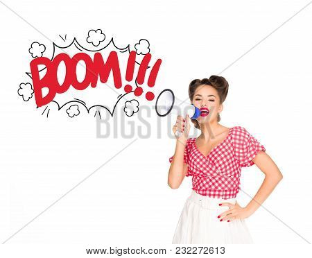 Portrait Of Fashionable Young Woman In Pin Up Style Clothing With Comic Style Boom Explode Out Of Lo