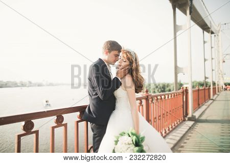 Young Beautiful Stylish Pair Of Newlyweds On A Bridge.