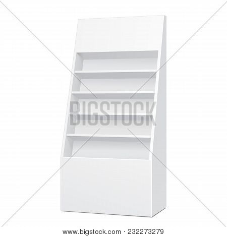 White Cardboard Floor Display Rack For Supermarket Blank Empty Displays With Shelves Products Mock Up. Illustration Isolated On White Background. Ready For Your Design. Product Packing. Vector EPS10 poster