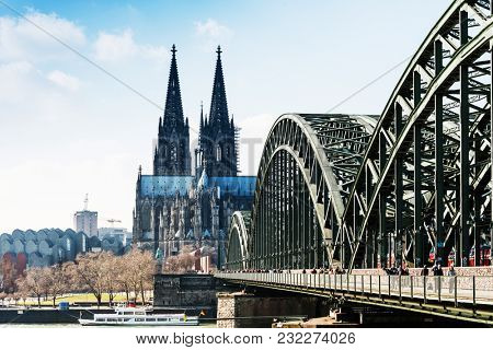 COLOGNE, GERMANY- March 14, 2018 : View on Cologne Cathedral and river Rhine, Germany