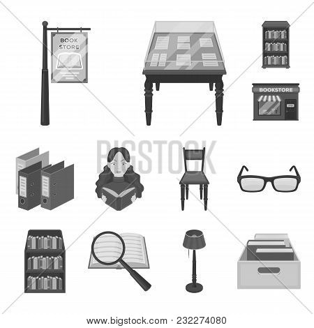 Library And Bookstore Monochrome Icons In Set Collection For Design. Books And Furnishings Vector Sy