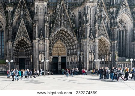 COLOGNE, GERMANY- March 14, 2018 : view of Gothic Cathedral in Cologne, Germany