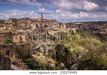Amazing Scenic Panorama Of Matera Town In Southern Italy With Its Labyrinth Of Streets And Rock Buil