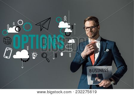 Handsome Young Man In Eyeglasses Holding Newspaper And Adjusting Necktie, Options Icons Isolated On