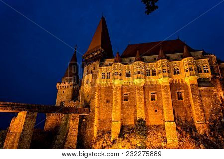 The Imposing Castle Of Hunedoara In Central Romania, A Historical Landmark Of Transylvania