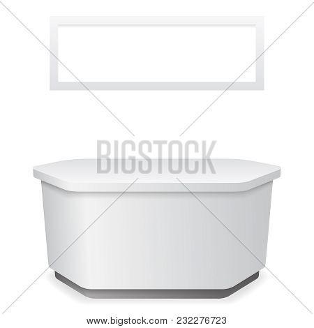 Bulletin Board Office Table Reception 3d Template Vector Illustration