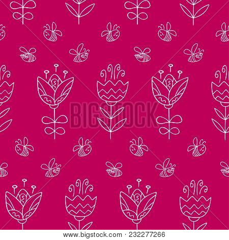 Seamless Pattern With Hand Drawn Flowers. Colorful Pattern In Line Style, Can Use For Wrapping Paper