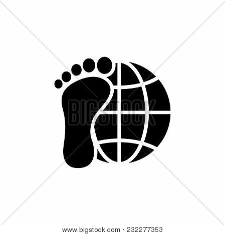Explorer Around The World. Earth And Foot. Flat Vector Icon. Simple Black Symbol On White Background