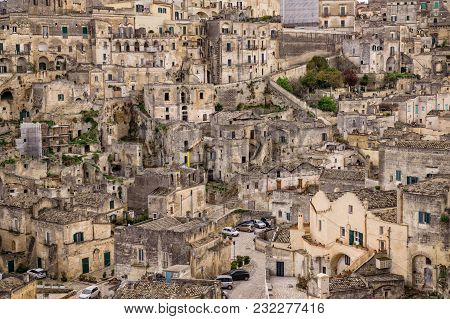 Urban Cityscape Of Ancient Matera Destination In Italy With Its Old Stone Houses And Streets